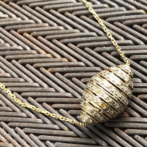 Diamonds Ball 14kt with  gold vermeil chain