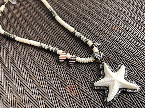 STARFISH diamond bone & pyrite sea shell necklace