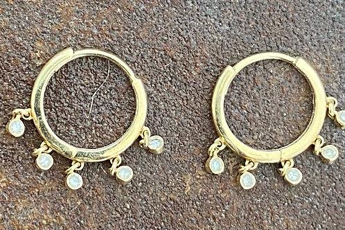 Diamond  Huggy 14kt gold earrings