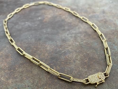 PAPERCLIP 14kt & Diamond necklace