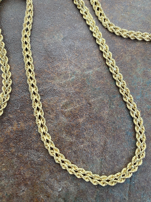 14kt  gold double rope necklace