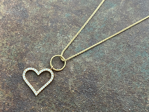 HEART Diamond Gold 14kt Charm