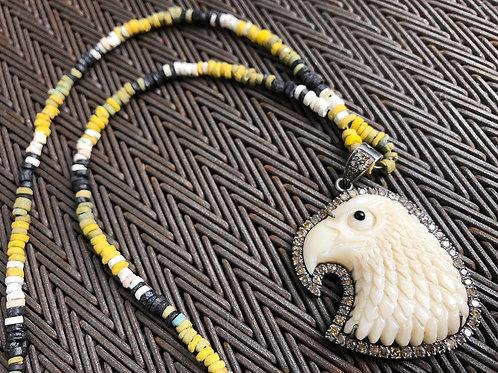 EAGLE diamond bone & clay mummy bead  necklace