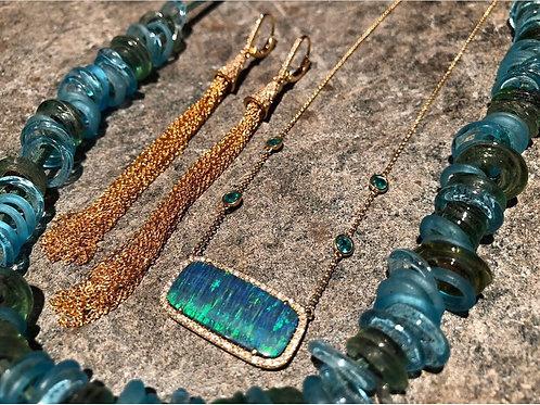 Opal Emerald Diamond 14K GOLD necklace