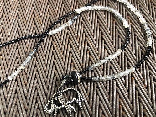 ELEPHANT with diamonds & jet quartz necklace