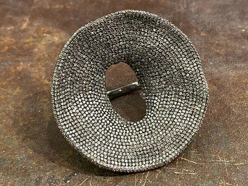Huge round diamond silver ring