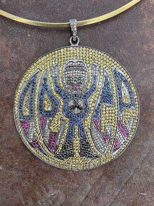 """PEACE"" Sapphire & Diamond silver Charm"