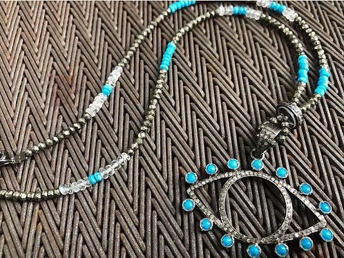 EYE with Diamonds turquoise quartz pyrite silver necklace