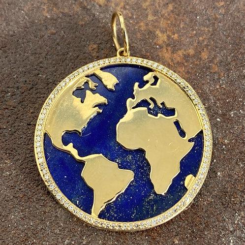 Lapis & Diamond Globe Charm