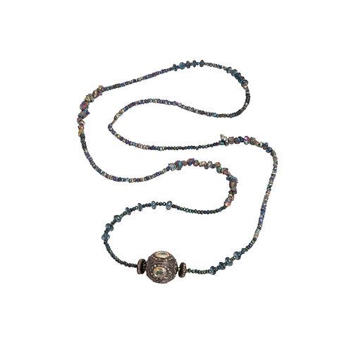 Opal & Diamond Focal Bead Necklace