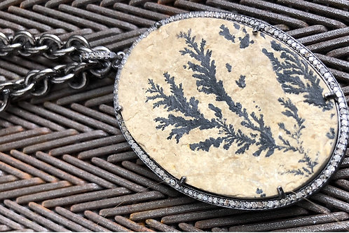 Fossilized picture pendant with silver necklace