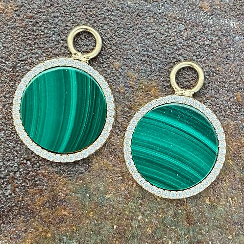 Malachite & Diamond 14kt gold earring charms