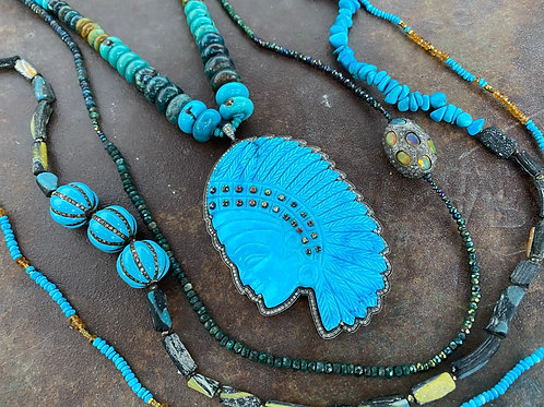 Native Turquoise Diamond Sapphire Necklace