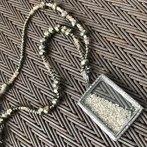 Quartz with diamonds & pyrite silver necklace