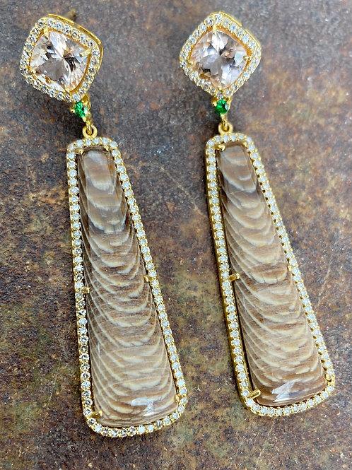 Morganite, Tsavorite, Fossilized Sequoia& Diamond 14kt gold earrings