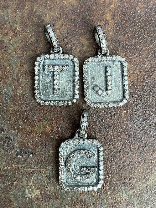 LETTERS Diamond & Silver Charm