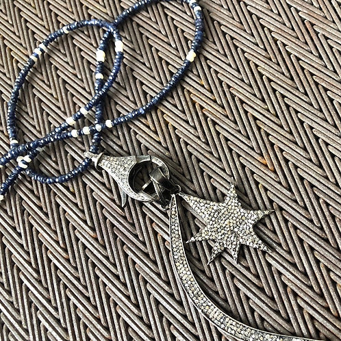 STAR with diamonds & lapis silver necklace