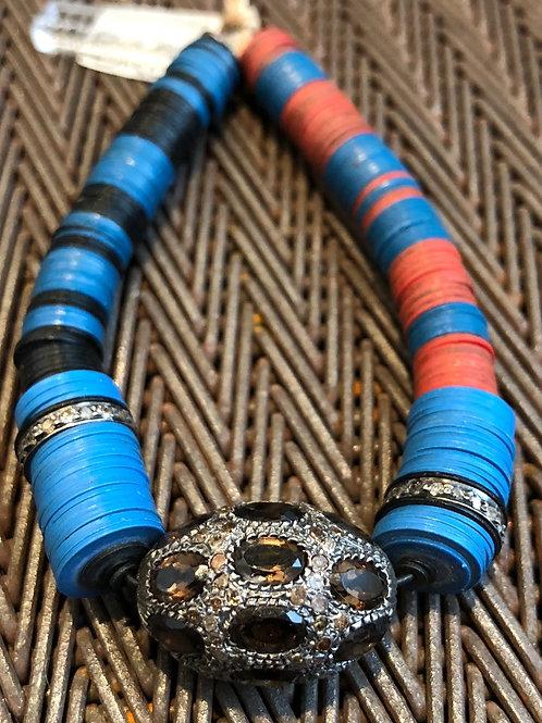 Smoky Topaz, Diamond and Vulcanite Bracelet