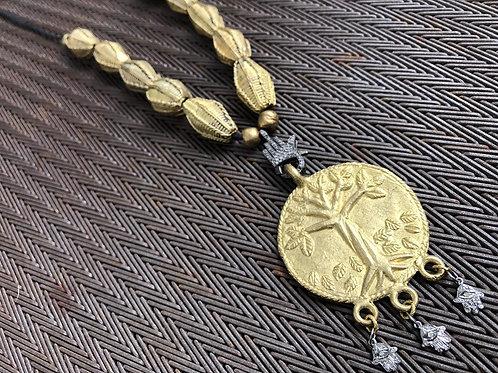 TREE OF LIFE  pendant  brass with diamonds & glass snake beads