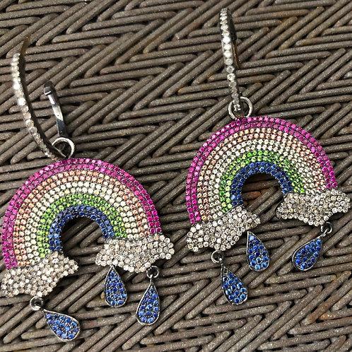 Sapphire & Diamond Rainbow 14kt gold earrings