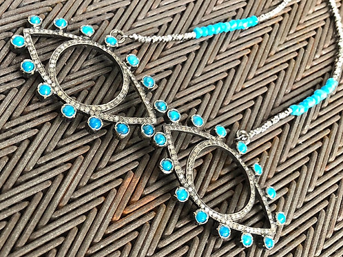 DOUBLE EYE with Diamonds turquoise quartz pyrite silver necklace