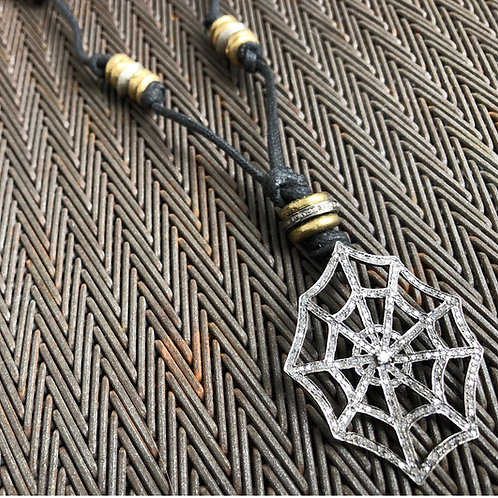 Spider web of diamonds, brass, leather necklace