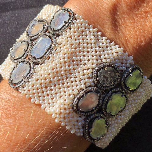 Rose cut Diamond & Pearl Bracelet