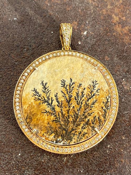 Fossil & Diamond Gold Vermeil Charm