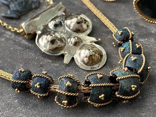 18kt & Bronze beaded  Necklace