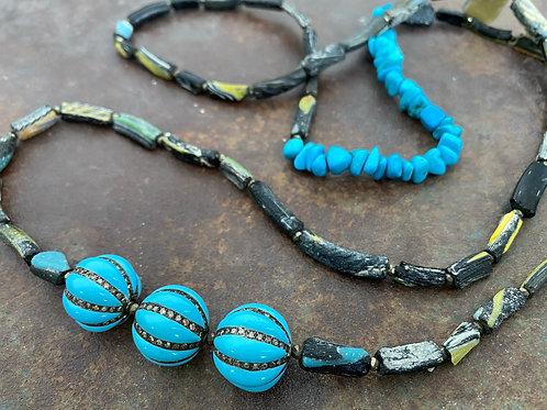 Enamel Diamond Ancient Glass  Necklace