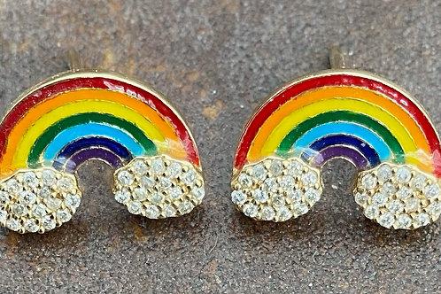 Rainbow Enamel & Diamond Vermeil  earrings