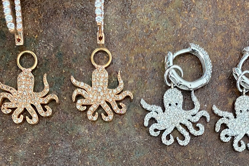 DIAMONDS  & GOLD OCTOPUS  EARRING Charms