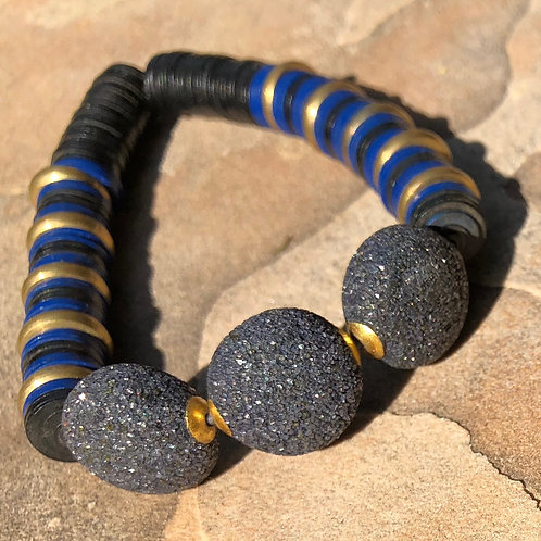 Diamond Ball Brass Ring & Vucanite Bracelet