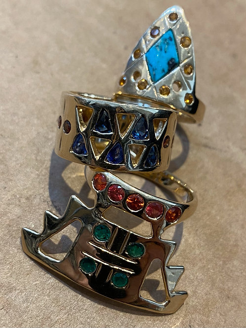 Totem ring , gold, sapphires, turquoise
