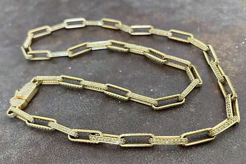 Paperclip gold and diamonds necklace