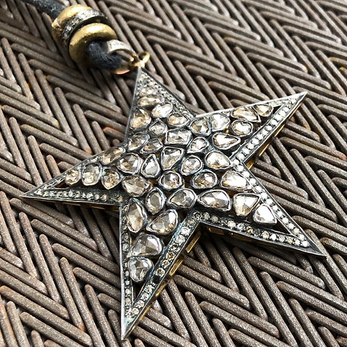 STAR rose cut diamond brass & leather necklace