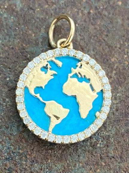 WORLD Turquise &  Diamond 14kt Charm