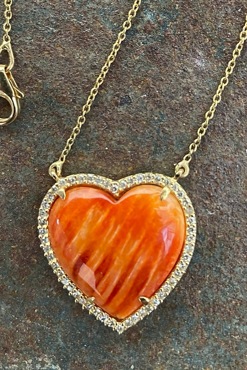 14kt HEART orange mother of pearl & diamond necklace