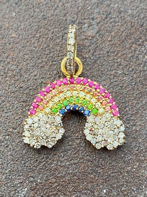 Rainbow Diamond & Sapphire gold vermeil Charm