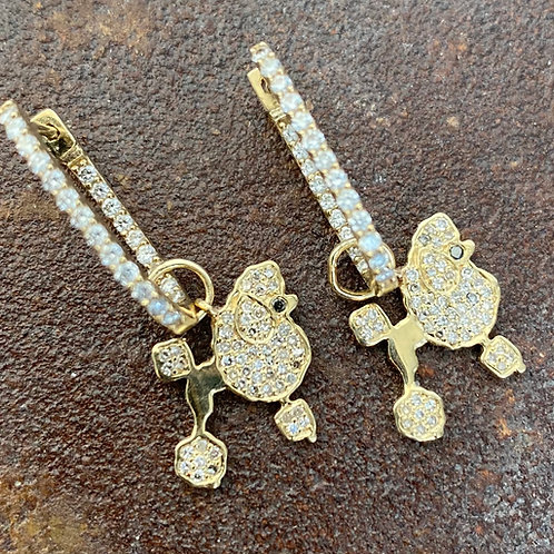 14kt gold White & Black Diamond Poodle Earring Charms