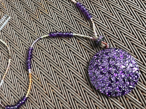 AMETHYST pendant with sapphire  necklace