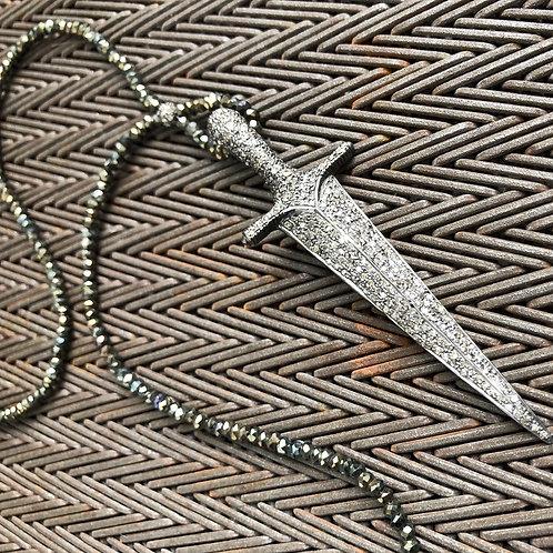 SWORD diamond & pyrite necklace