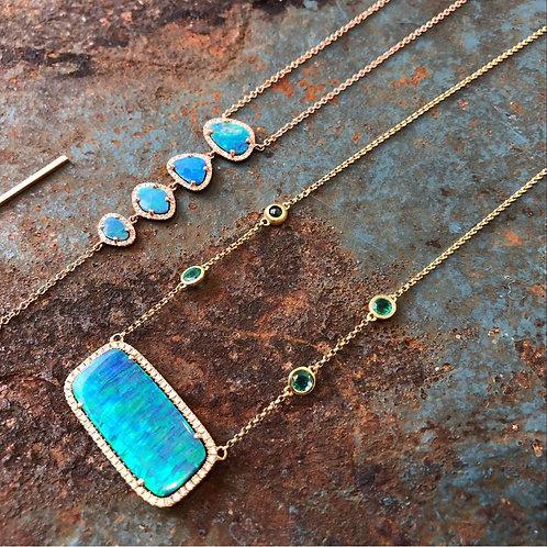 Opal Diamond & 14kt rose gold Necklace
