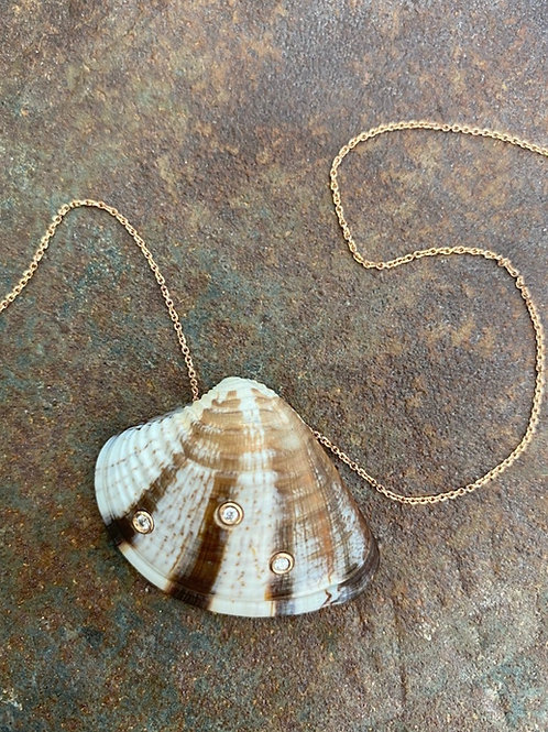 gold , diamond, pearl, shell necklace