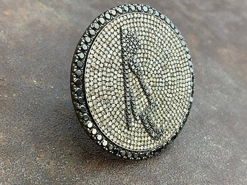 white and black diamonds, silver ring