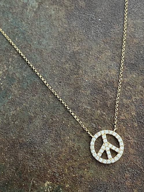 PEACE Diamond Gold 14kt Charm