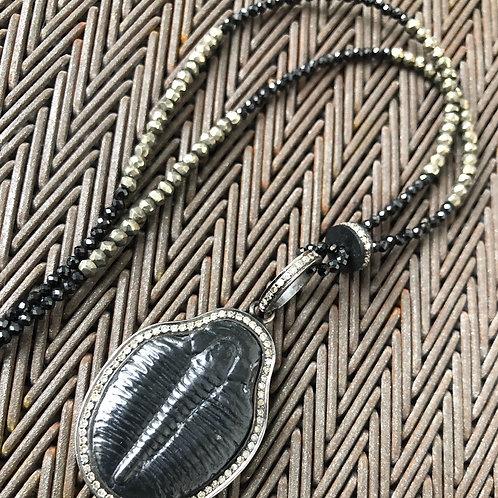 Trilobite with diamonds & pyrite necklace