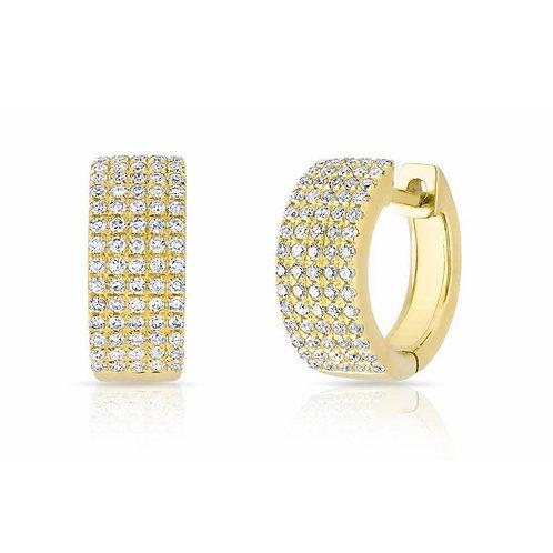 5 row Huggie Diamond 14kt gold earrings