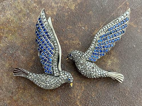 DIAMONDS  & SAPPHIRES BIRD EARRINGS