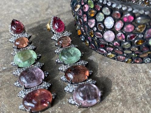 Tourmaline Multi stoned & diamond cuff
